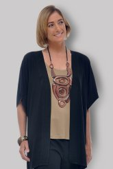 Open Tunic Cardigan in Black