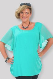 Flattering Scoop Neck w/ Silky Sleeves